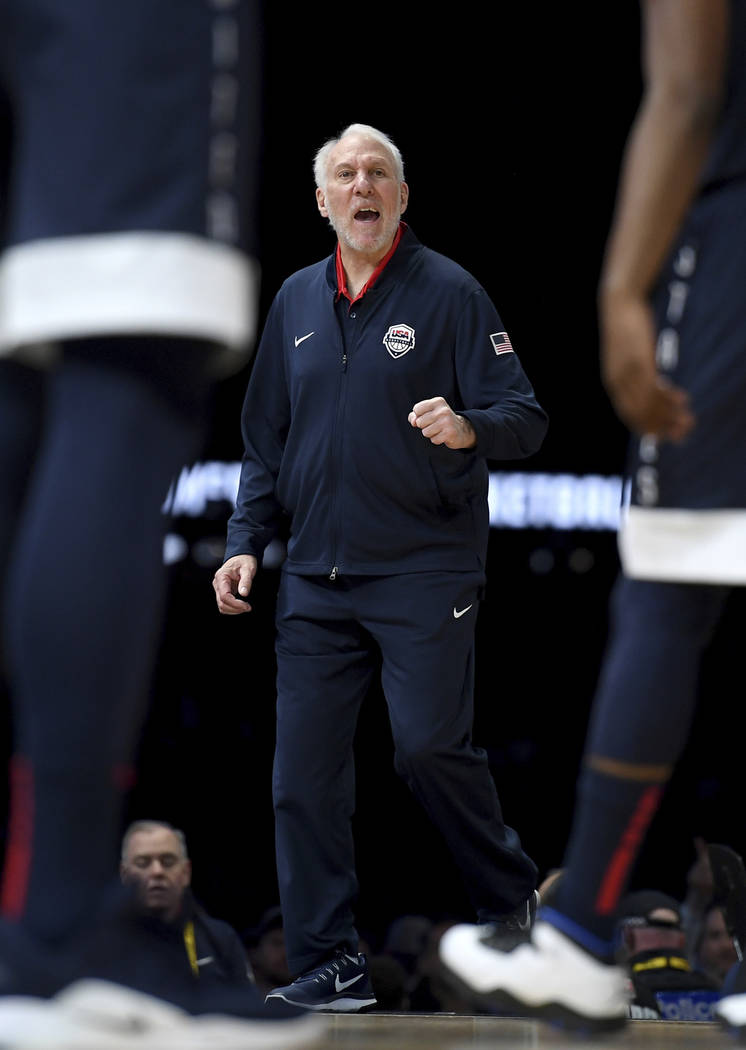 United States' head coach Gregg Popovich gestures during their exhibition basketball game again ...