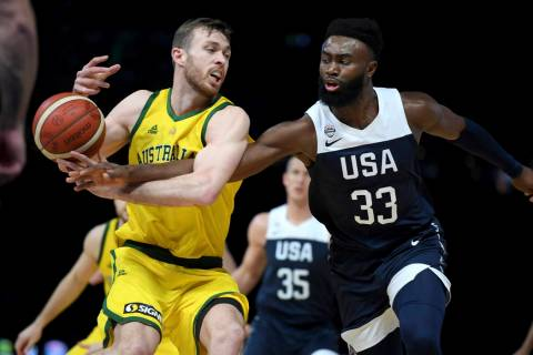 Australia's Nicholas Kay and United States Jaylen Brown compete for the ball during their exhib ...