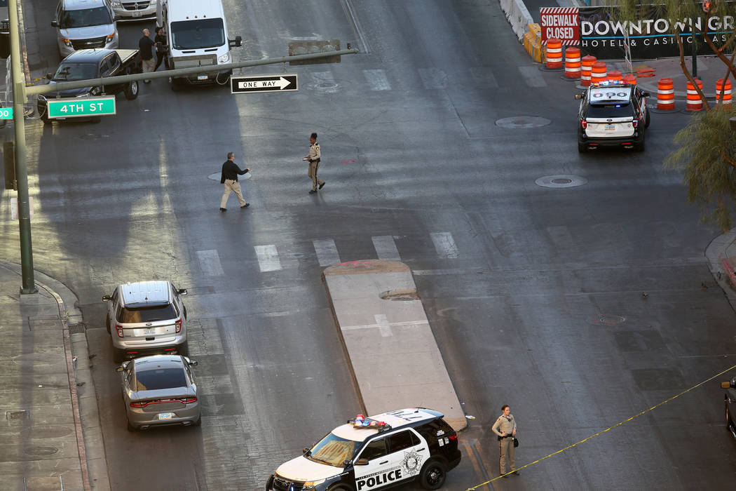 Ogden Avenue at Fourth Street in downtown Las Vegas remains closed Thursday, Aug. 22, 2019, whe ...