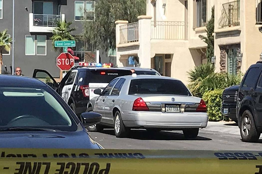 Police investigate a barricade situation Saturday, Aug. 24, 2019, near South Grand Canyon Drive ...