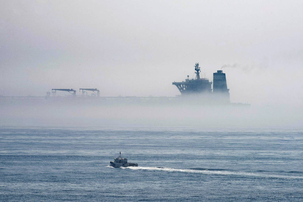 A view of the Grace 1 supertanker is seen through the sea fog, in the British territory of Gibr ...