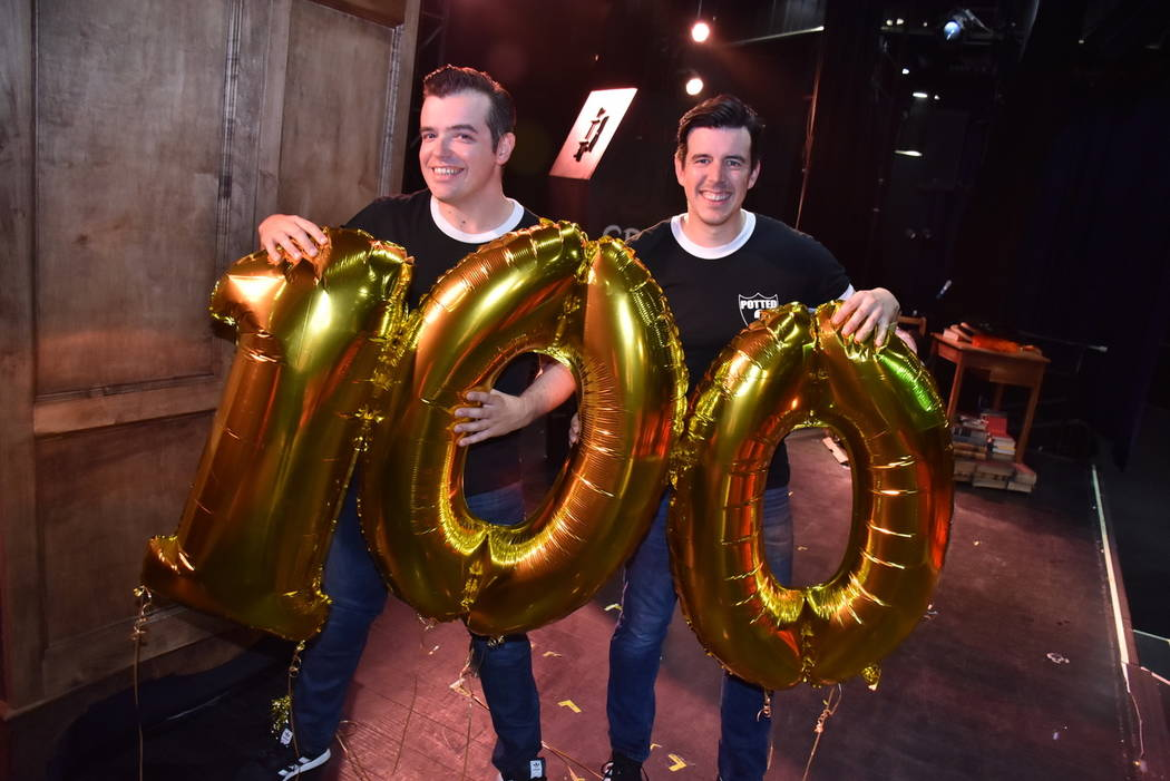 """Potted Potter"" co-stars James Percy and Joseph Maudsley celebrate 100 shows at Bally's Las V ..."