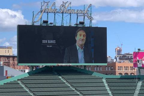 Former Review-Journal sports reporter Don Banks was honored Saturday on the video display at Fe ...