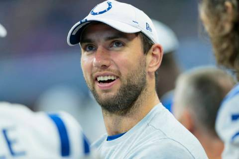 Indianapolis Colts quarterback Andrew Luck (12) on the sidelines during the second half of an N ...
