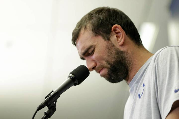 Indianapolis Colts quarterback Andrew Luck speaks during a news conference following the team's ...