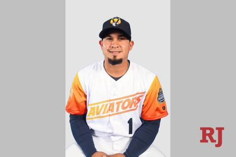 Las Vegas Aviators second baseman Franklin Barreto (1) pictured on media day at Las Vegas Ballp ...