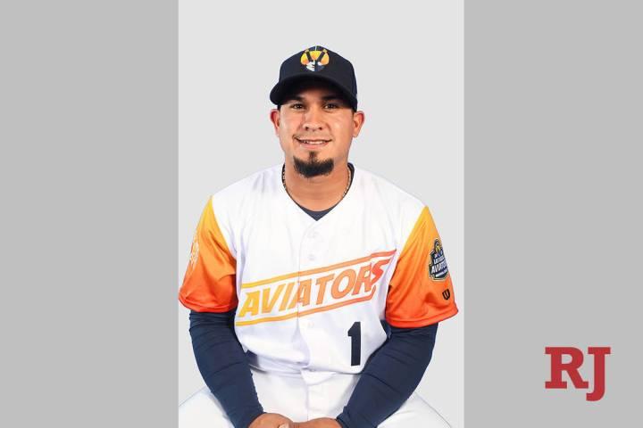 Las Vegas Aviators second baseman Franklin Barreto (1) pictured on media day at Las Vegas Ballp ...