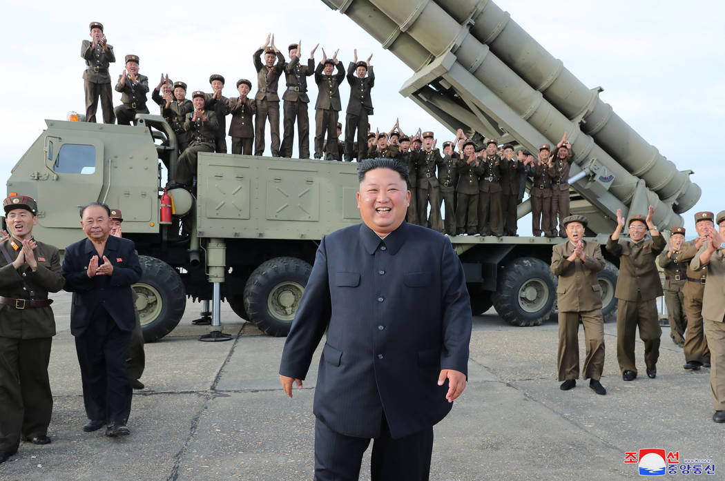 This Saturday, Aug. 24, 2019, photo provided Sunday, Aug. 25, by the North Korean government, s ...