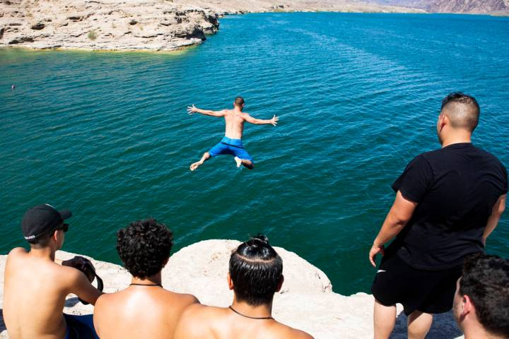 Matt from Las Vegas, who didn't give his last name, jumps into Lake Mohave at Nelson's Landing ...