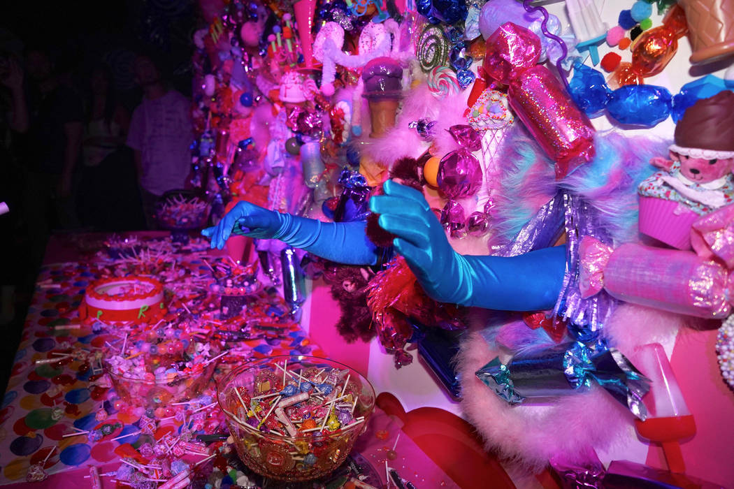 """A scene from """"Candy World"""" at Light Nightclub at Mandalay Bay on Saturday, Aug. 24, 2019. (Mich ..."""