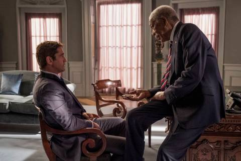 "This image released by Lionsgate shows Gerard Butler, left and Morgan Freeman in ""Angel Ha ..."