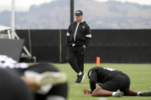 Oakland Raiders head coach Jon Gruden watches during NFL football practice in Alameda, Calif., ...
