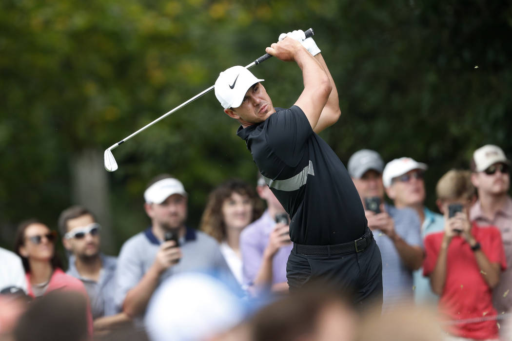 Brooks Koepka hits from the second tee during the final round of the Tour Championship golf tou ...