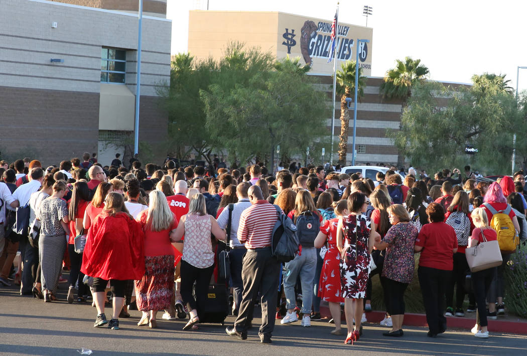 Teachers and administrators at Spring Valley High School staged a protest to demand appropriat ...