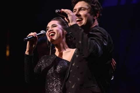 "Daniel Emmet and Jaclyn McSpadden are shown in ""All That I Am"" premiere at Caesars Palace in La ..."