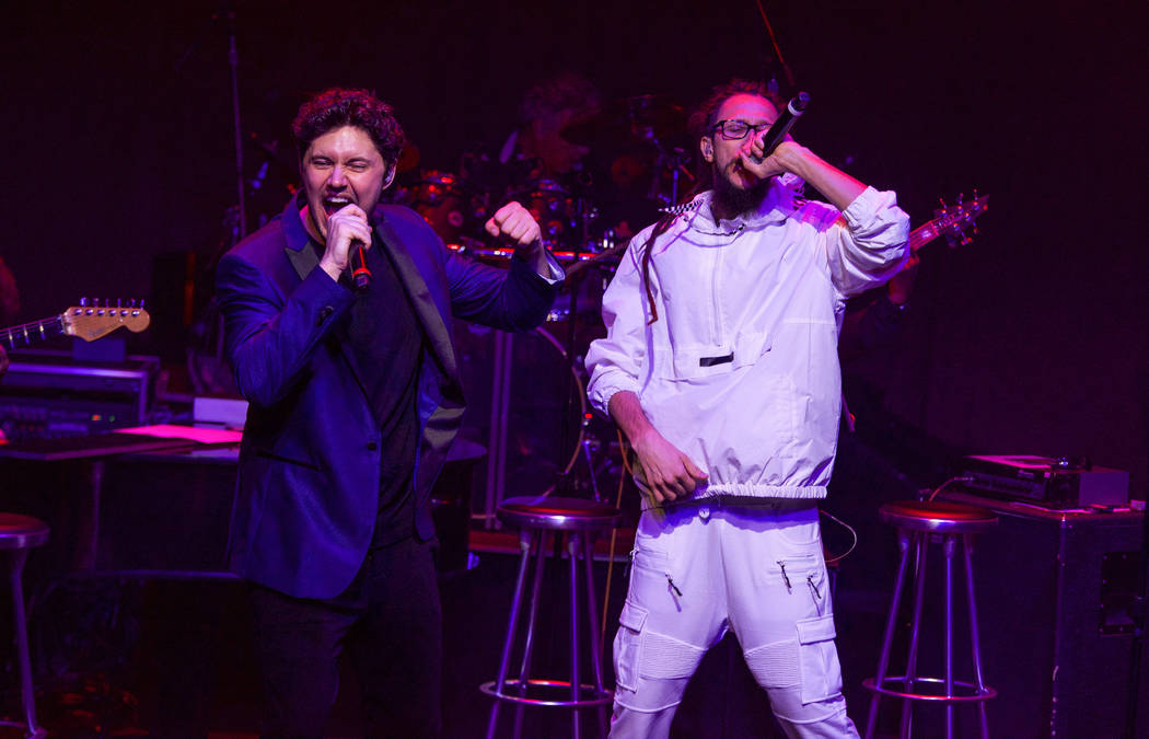 "Daniel Emmet and rapper Faded Breezie are shown in ""All That I Am"" premiere at Caesars Palace i ..."