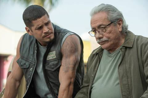 "JD Pardo, left, plays EZ Reyes and Edward James Olmos is Felipe Reyes in ""Mayans M.C."" on FX. ( ..."