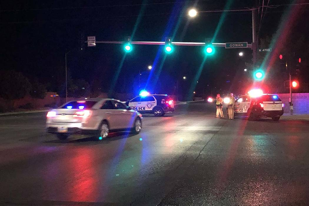 An off-duty Las Vegas police officer was shot in northwest Las Vegas Wednesday night, Aug. 21, ...