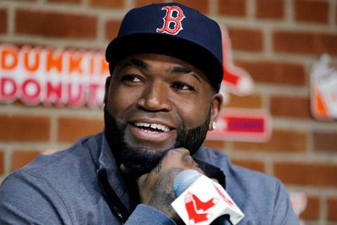 Then Boston Red Sox player David Ortiz speaks during a news conference before a baseball game a ...