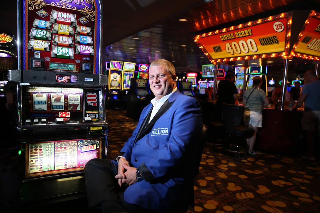 Derek Stevens, owner of the D Las Vegas hotel-casino, poses inside the casino floor in Las Vega ...