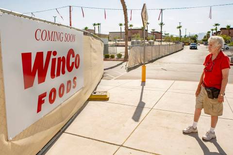 June Petrucci, 76, looks at the coming soon sign as construction is still underway at WinCo Foo ...