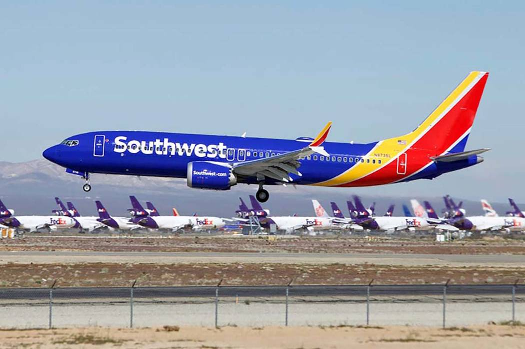 In a March 23, 2019, file photo a Southwest Airlines Boeing 737 Max aircraft lands at the South ...