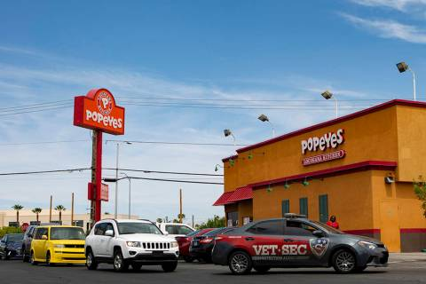 The long line of the drive-thru during lunchtime at Popeyes on Thursday, Aug. 22, 2019, in Las ...