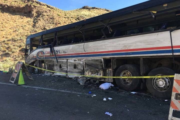 Two people were killed after a semitractor-trailer crashed head-on into a bus Saturday, Aug. 24 ...