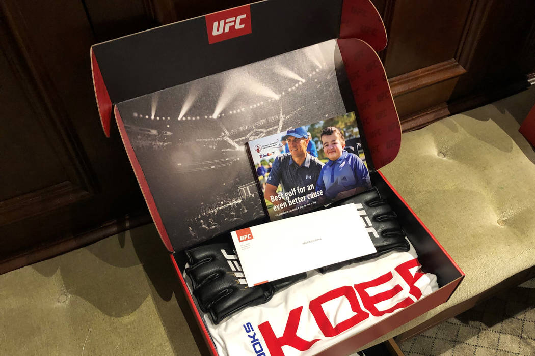 A custom UFC gift box featuring a letter from president Dana White that served as an invitation ...