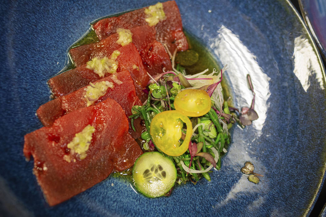 Sake-compressed watermelon with gingerÐwasabi sorbet by Chef Andrew Carroll of Catch Las Vegas ...