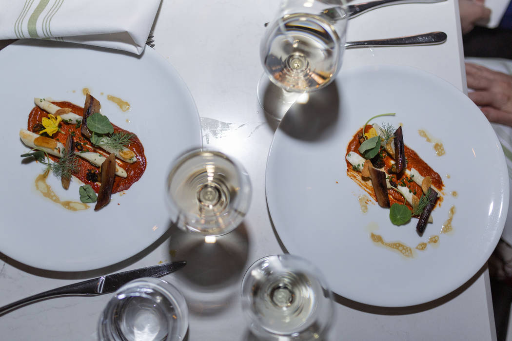 Marinated white asparagus with cashew chutney and muhammara by Chef Brian Howard of Sparrow + W ...