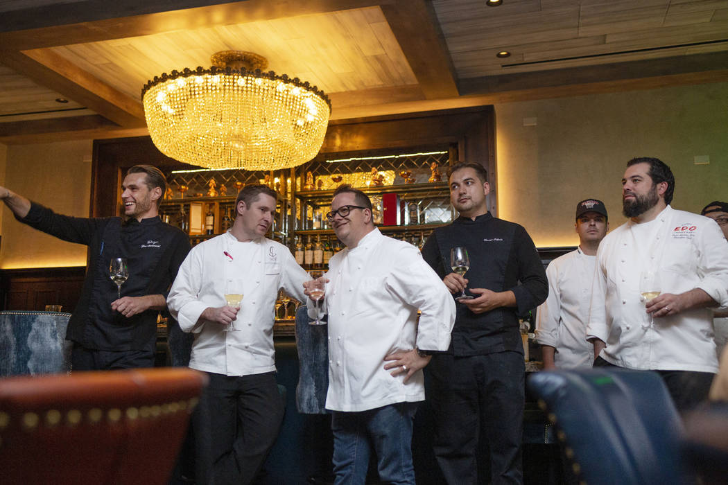 The chefs who created the dishes for the Vegans, Baby James Beard Dinner, greet the guests who ...