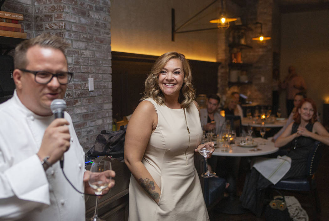 Chef Brian Howard of Sparrow + Wolf, left, and Diana Edelman, founder of the blog Vegans, Baby, ...