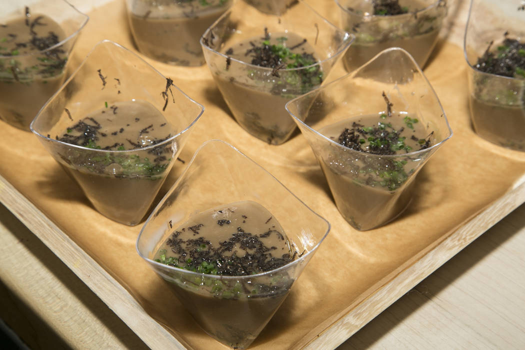 Photo by Rinah Oh Morel Mushroom Veloute prepared at the James Beard House in New York City.