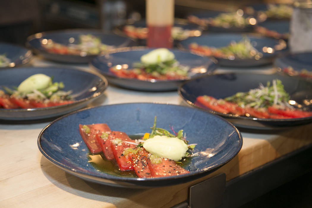 Photo by Rinah Oh Sake-compressed watermelon with gingerÐwasabi sorbet by Chef Andrew Carroll ...