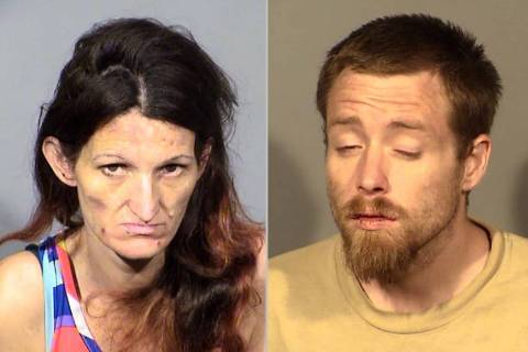 Cyrstal Girardot, left, and Robert Sorola were arrested Aug. 2. (Las Vegas Metropolitan Police ...