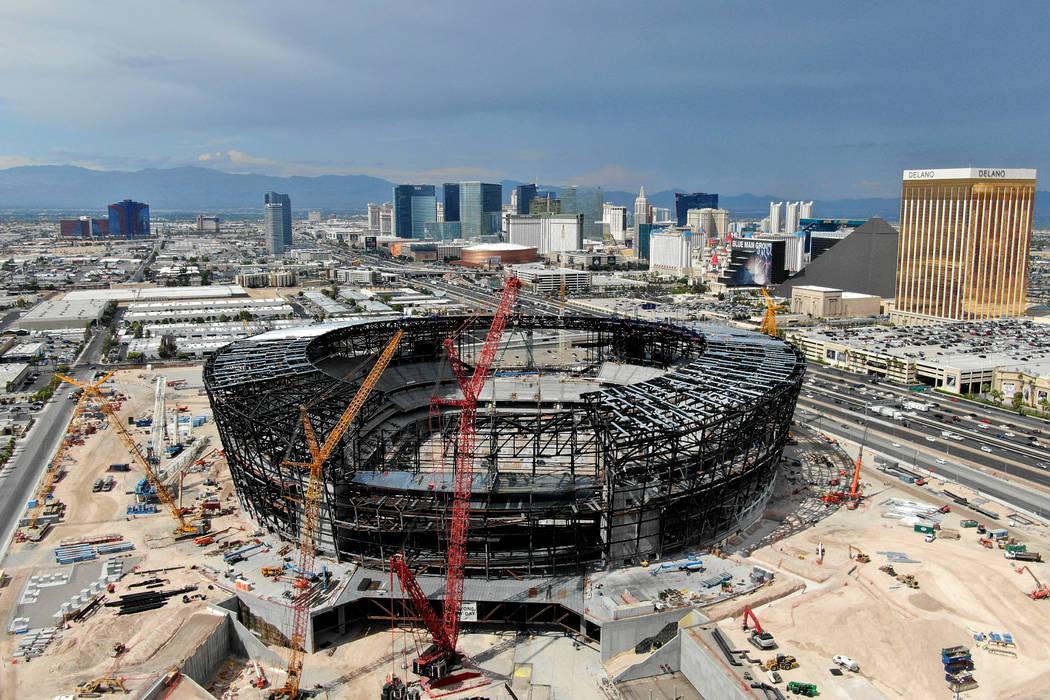 Aerial view of the Las Vegas Raiders stadium under construction, July 25, 2019. (Michael Quine/ ...