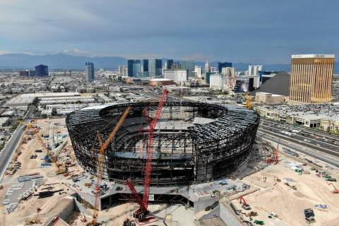 Aerial view of the Las Vegas Raiders stadium under construction, July 25, 2019. (Michael Quine/ ...