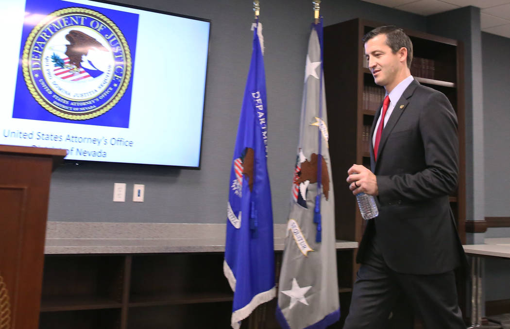 Nevada US Attorney Nicholas Trutanich takes the podium to speak during a press conference on Tu ...
