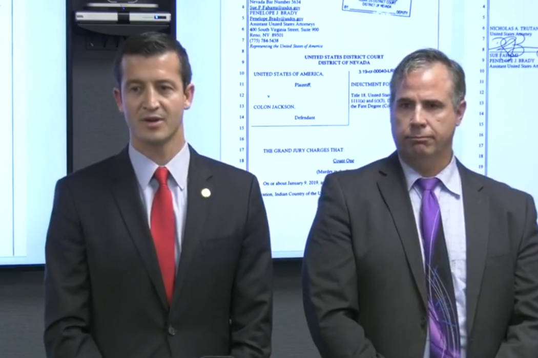 United States Attorney Nicholas Trutanich and FBI Assistant Special Agent in Charge Ray Johnson ...