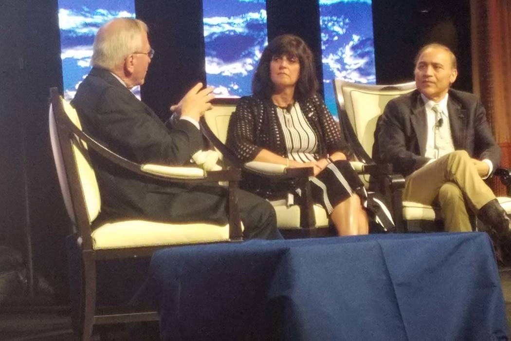 Clark County Department of Aviation Director Rosemary Vassiliadis talks with Mike Boyd, preside ...