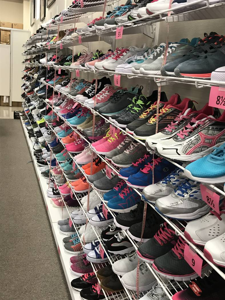 Shoes for children in need, which will be distributed through the Assistance League of Las Vega ...