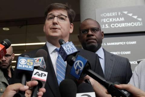 Attorneys Miles Ehrlich, left, and Ismail Ramsey, representing Anthony Levandowski, speak to re ...