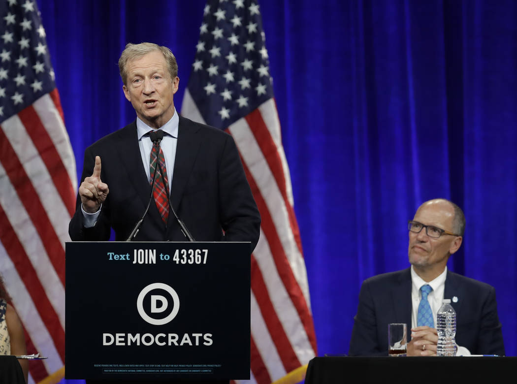 Democratic presidential candidate Tom Steyer gestures while speaking at the Democratic National ...