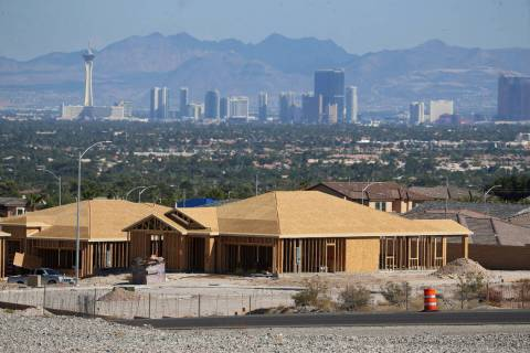 Homes under construction near N Hualapai Way and the 215 Beltway in Las Vegas, Tuesday, Aug. 27 ...