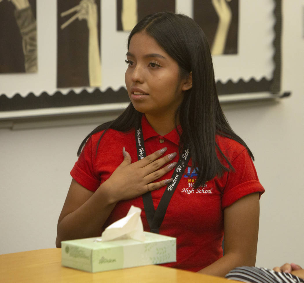 Jobs of America's Graduates (JAG) student Alfa Sosa, 17, becomes emotional while discussing her ...