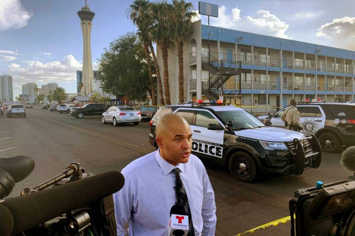 Lt. Ray Spencer of the Metropolitan Police Department Homicide Section, speaks to reporters, Tu ...