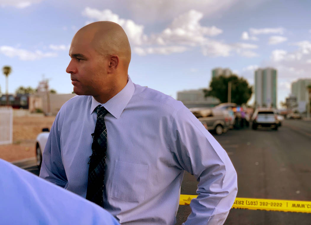 Lt. Ray Spencer of the Las Vegas Metropolitan Police Department Homicide Section, speaks to rep ...
