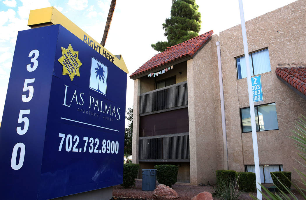 Las Palmas, an off-Strip apartment complex at 3550 Paradise Road in Las Vegas, is seen Wednesda ...