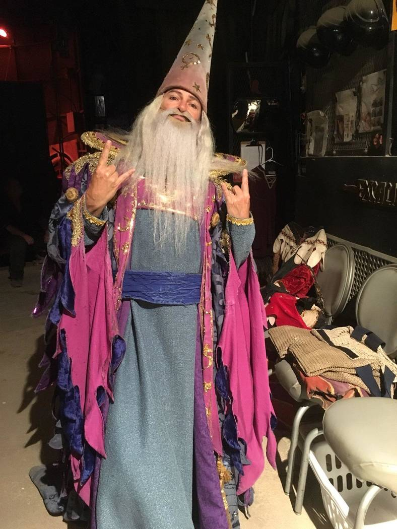 "Troy Burgess of ""Tournament of Kings"" is shown as Merlin backstage at Excalibur on the Las Vega ..."